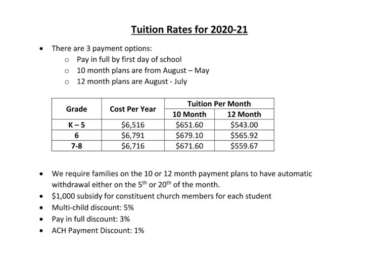 2020-21 Tuition Rates